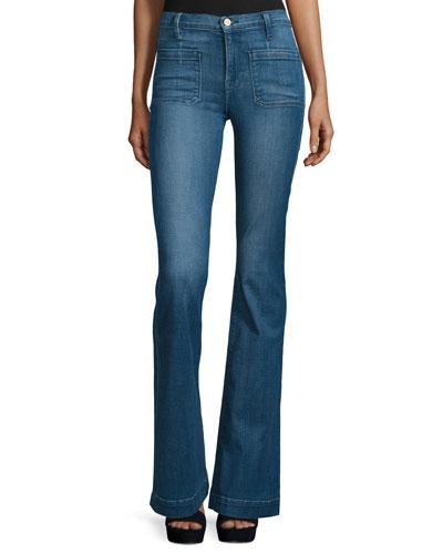 Le Bardot Striped Flare-Leg Jeans, Reeves