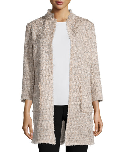 Open-Front Boucle Topper Jacket, Tan