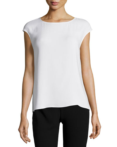 Cap-Sleeve Round-Neck Shell, Ivory