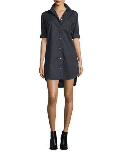 Poplin Button-Front Shirtdress, Noir
