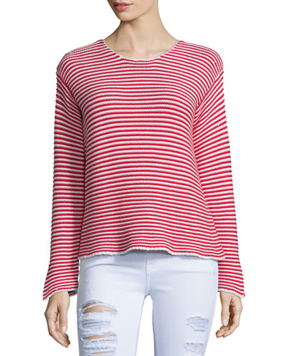Cropped Jewel-Neck Striped Top, Red Stripe