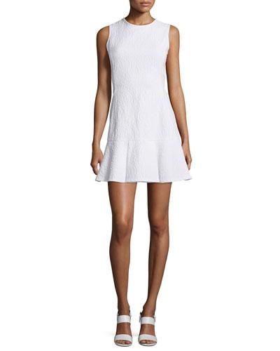 Sleeveless Crewneck Drop-Waist Flounce Dress