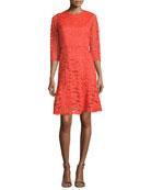 3/4-Sleeve Jewel-Neck Lace Dress, Scarlett