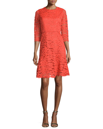 3/4-Sleeve Jewel-Neck Lace Dress, Scarlett