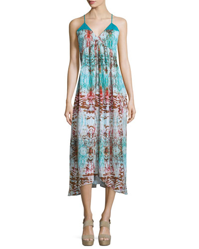 Sleeveless V-Neck Printed Midi Dress, Turquoise