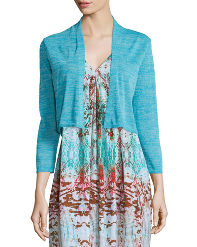 3/4-Sleeve Cropped Cocoon Cardigan, Turquoise