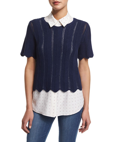Crochet Short-Sleeve Boxy Top, Navy