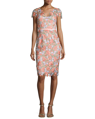 MARCHESA NOTTE Short-Sleeve Belted Lace Cocktail Dress in Coral