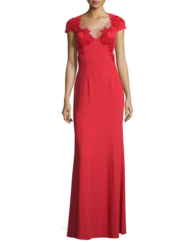 Cap-Sleeve Illusion-Side Applique Gown