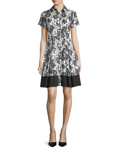 Short-Sleeve Floral-Print Shirtdress, Jet/Off White