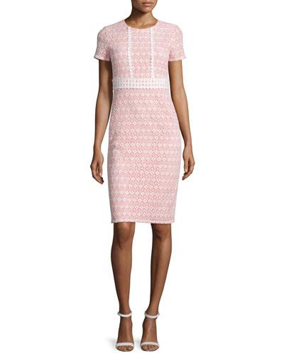 Round-Neck Macrame Eyelet Sheath Dress, Coral/Off White