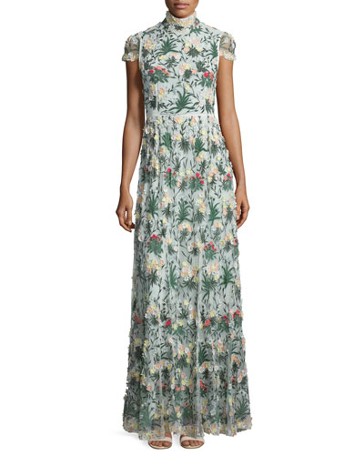 Arwen Short-Sleeve Embroidered Gown