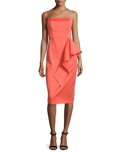 Strapless Ruffle-Front Sheath Dress