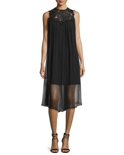 Sleeveless Dress W/ Sheer Overlay