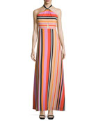 Sleeveless Halter Striped Gown