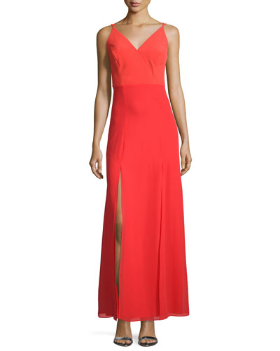 Sleeveless Double-Slit A-line Gown
