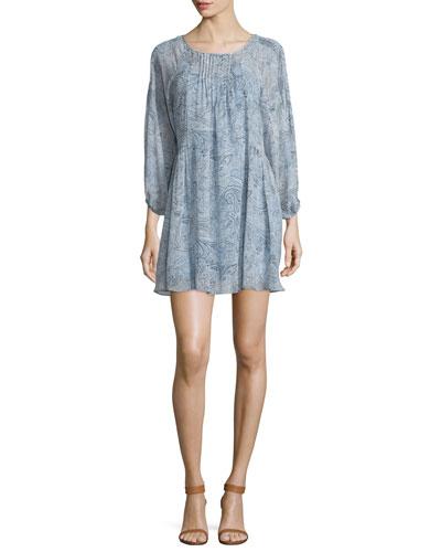 Achroite Paisley-Print Silk Dress
