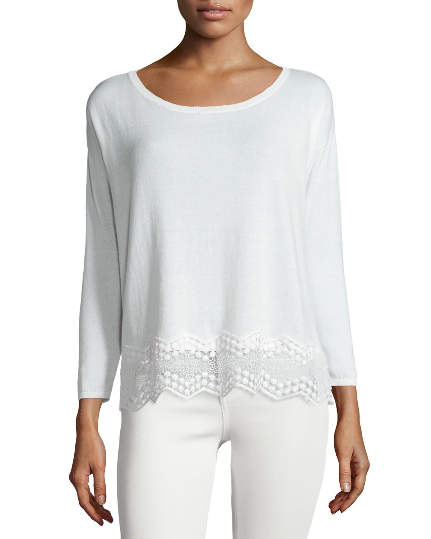 Jenka Lace-Back Long-Sleeve Sweater