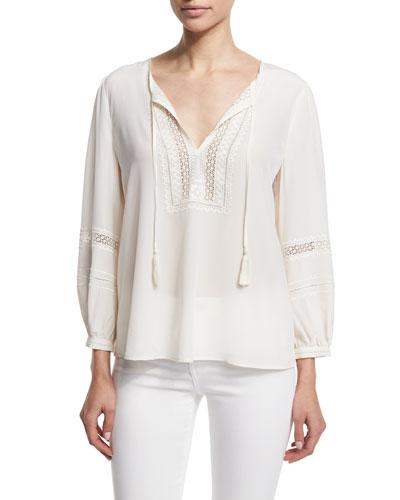 Aline Embroidered Split-Neck Silk Top