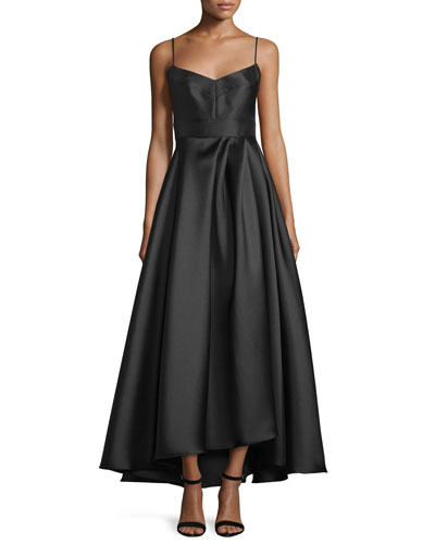 Spaghetti Strap Sweetheart High-Low Dress, Black