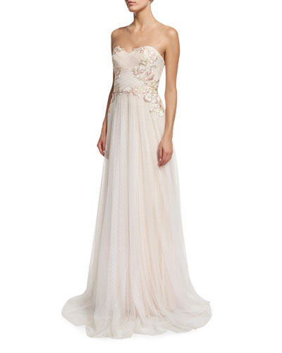 Strapless Sweetheart Embroidered Combo Gown