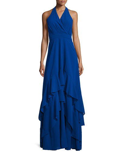 Alofa Sleeveless V-Neck Tiered Ruffle Gown