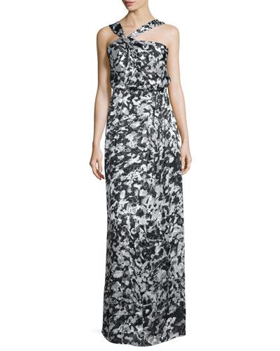 Selena Asymmetric-Neck Floral Gown, Rorschach