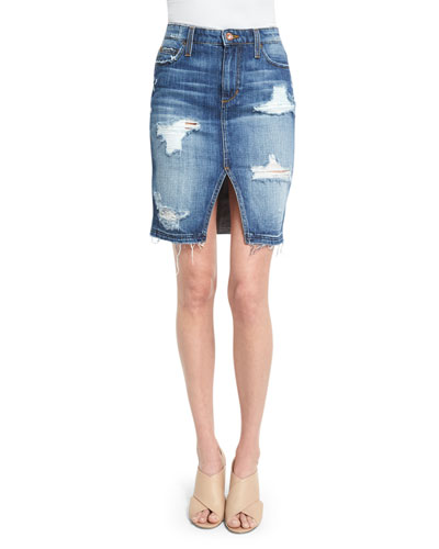 Distressed Denim Pencil Skirt, Kumi