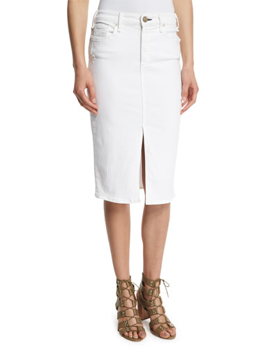 Marino Denim Pencil Skirt, White