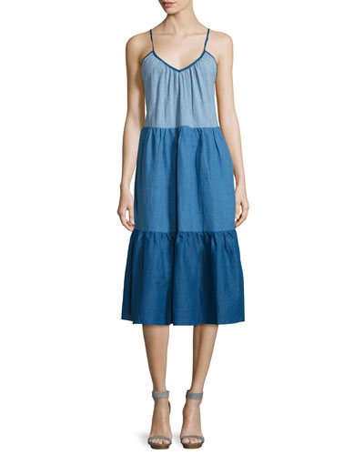 Sunset Colorblock Tiered Dress, Sunset Blue