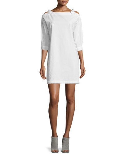 Patou Cold-Shoulder Shift Dress, Ecru