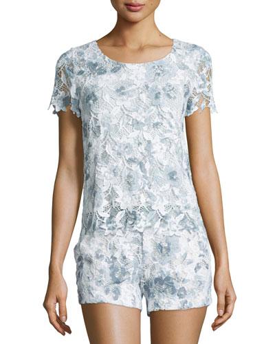 Devine Short-Sleeve Lace Top, Dusk