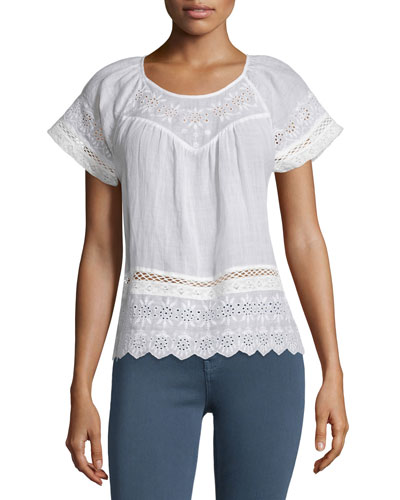 Ladera Embroidered-Eyelet Short-Sleeve Top