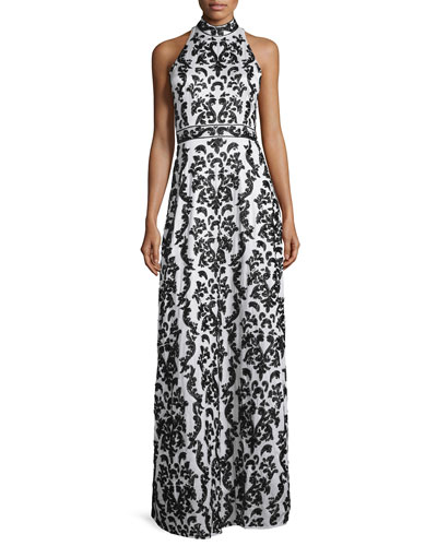 Makeena Embellished Lace Gown, Black/White