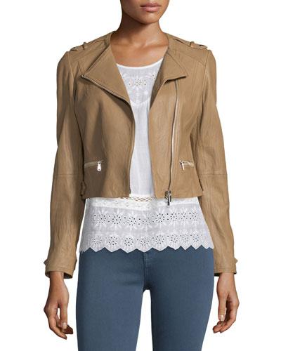 Odina Asymmetric-Zip Soft Leather Jacket