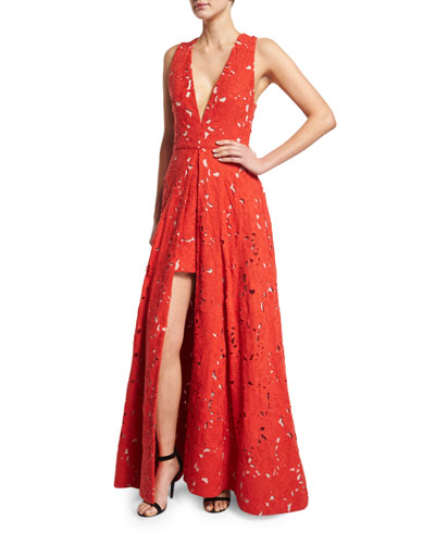 Francis Sleeveless V-Neck Flared Lace Gown