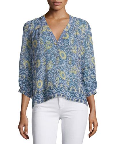 Frazier Floral-Print Silk Top