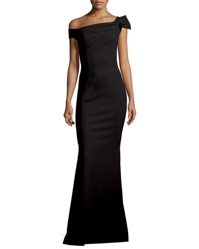 Graziella Long Asymmetric Mermaid Gown, Nero