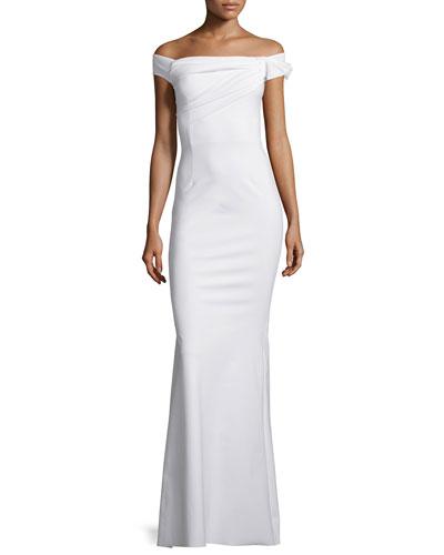 Grazie Asymmetric Mermaid Gown, Bianco