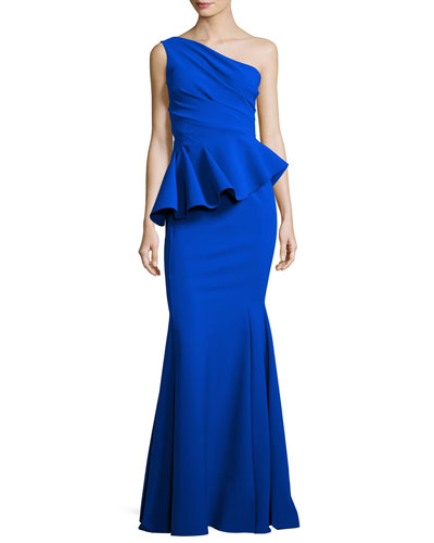 Desy One-Shoulder Peplum Gown, Blue Notte