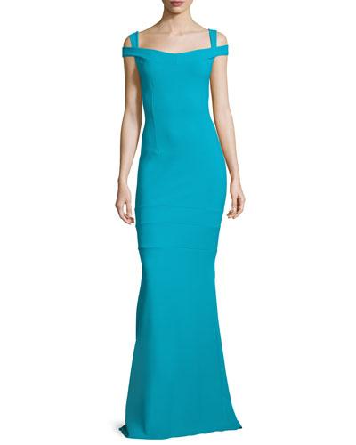Jillian Cap-Sleeve Column Gown