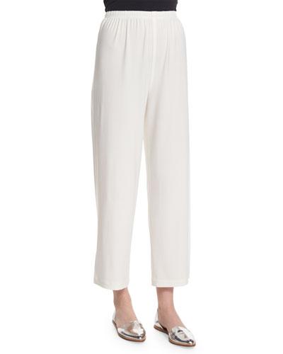 Wide-Leg Ankle Pants, White
