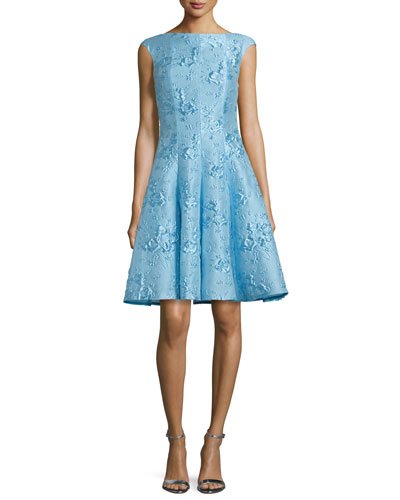 Korbut Cap-Sleeve Fit-&-Flare Dress, Oxford Blue