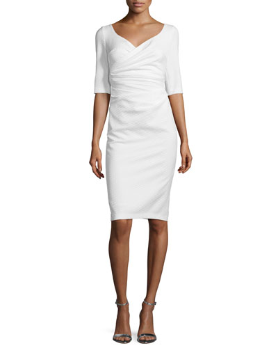 Kortney Half-Sleeve Cocktail Dress, Ivory