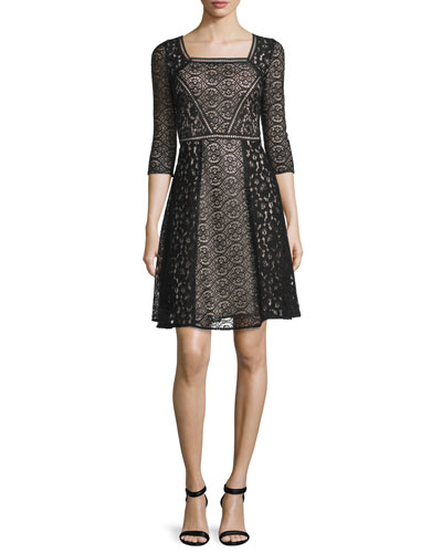 3/4-Sleeve Square-Neck Lace Dress, Black/Nude