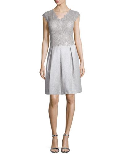 Cap-Sleeve Lace Jacquard Fit & Flare Dress