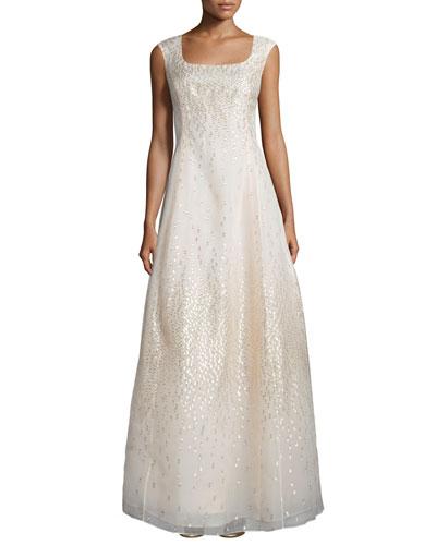 Metallic Dot Cap-Sleeve Gown, Champagne
