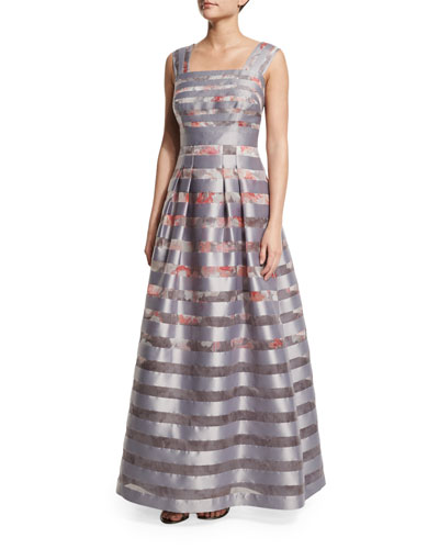 Cap-Sleeve Striped Floral Ball Gown