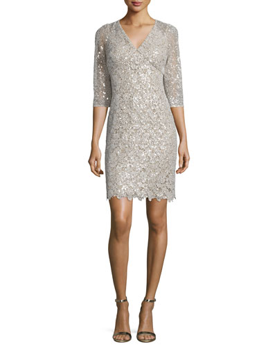 3/4-Sleeve Embellished-Lace Dress, Champagne