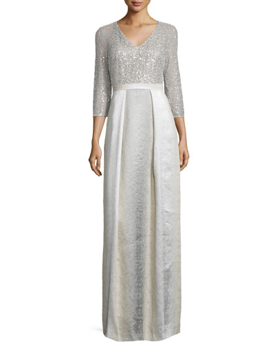 3/4-Sleeve Sequined Combo Ball Gown